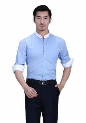 立领蓝色拼色长袖衬衫